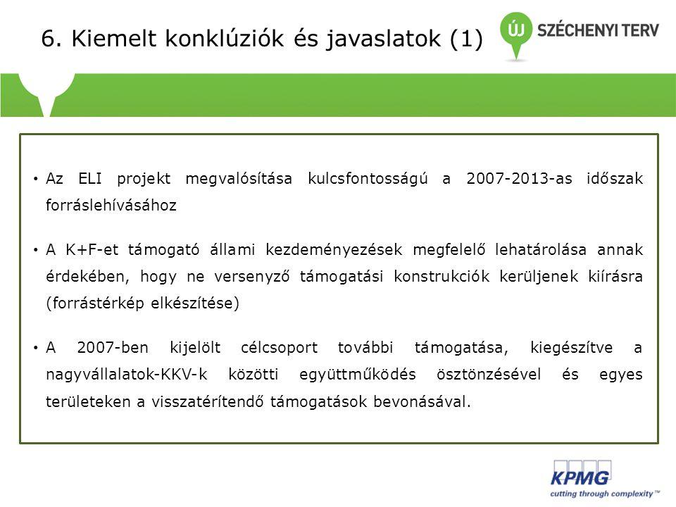 6. Kiemelt konklúziók és javaslatok (1) Az ELI projekt megvalósítása kulcsfontosságú a 2007-2013-as időszak forráslehívásához A K+F-et támogató állami