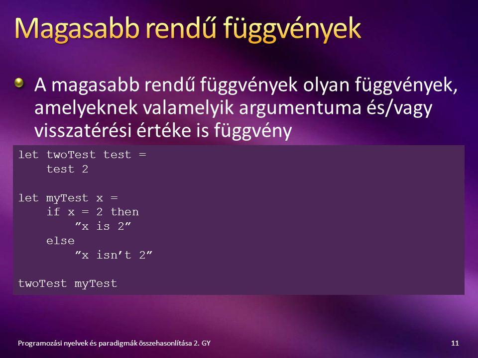 A magasabb rendű függvények olyan függvények, amelyeknek valamelyik argumentuma és/vagy visszatérési értéke is függvény 11Programozási nyelvek és para