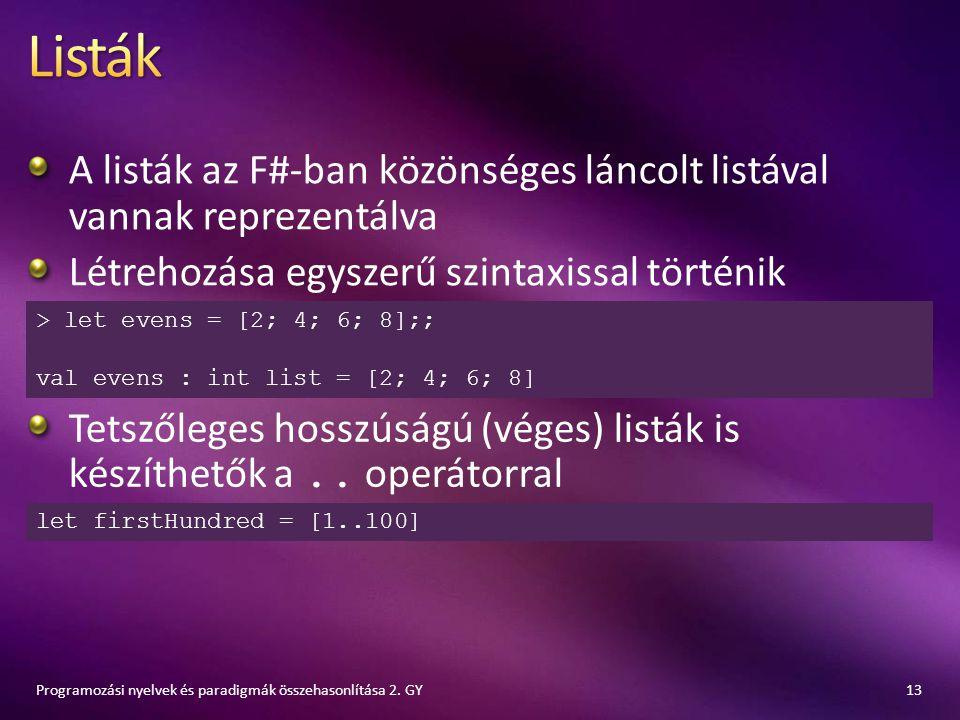 A listák az F#-ban közönséges láncolt listával vannak reprezentálva Létrehozása egyszerű szintaxissal történik 13Programozási nyelvek és paradigmák ös