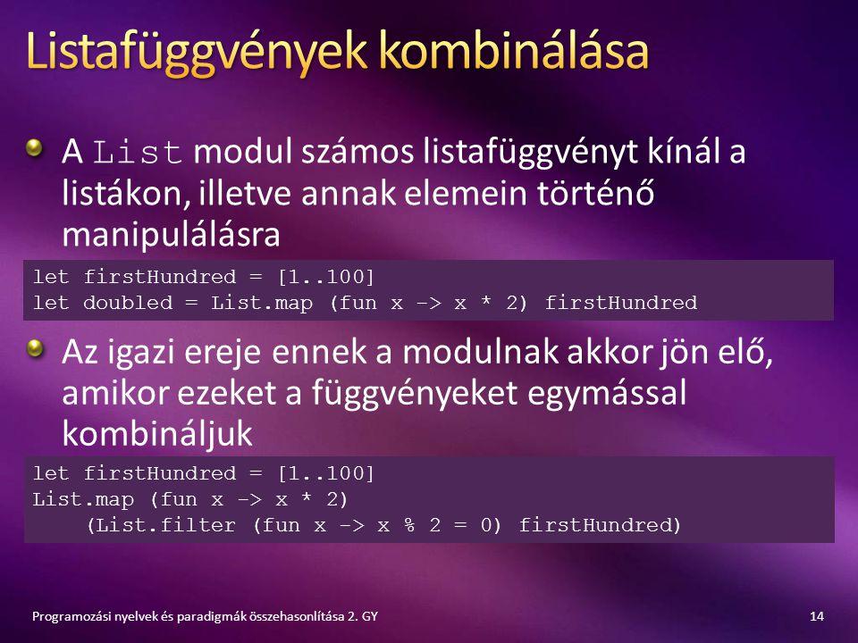 A List modul számos listafüggvényt kínál a listákon, illetve annak elemein történő manipulálásra 14Programozási nyelvek és paradigmák összehasonlítása