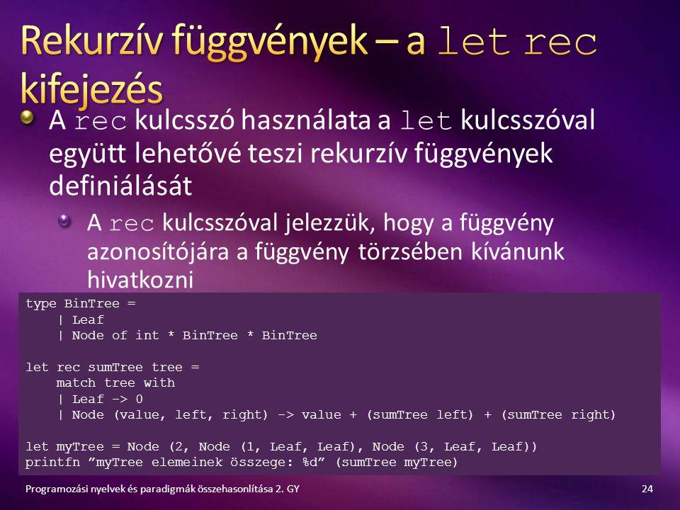 A rec kulcsszó használata a let kulcsszóval együtt lehetővé teszi rekurzív függvények definiálását A rec kulcsszóval jelezzük, hogy a függvény azonosí