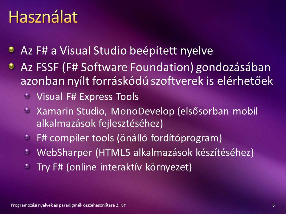 Az F# a Visual Studio beépített nyelve Az FSSF (F# Software Foundation) gondozásában azonban nyílt forráskódú szoftverek is elérhetőek Visual F# Expre
