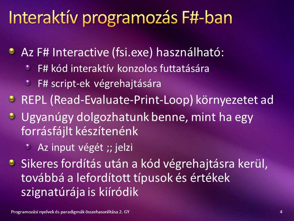 Az F# Interactive (fsi.exe) használható: F# kód interaktív konzolos futtatására F# script-ek végrehajtására REPL (Read-Evaluate-Print-Loop) környezete