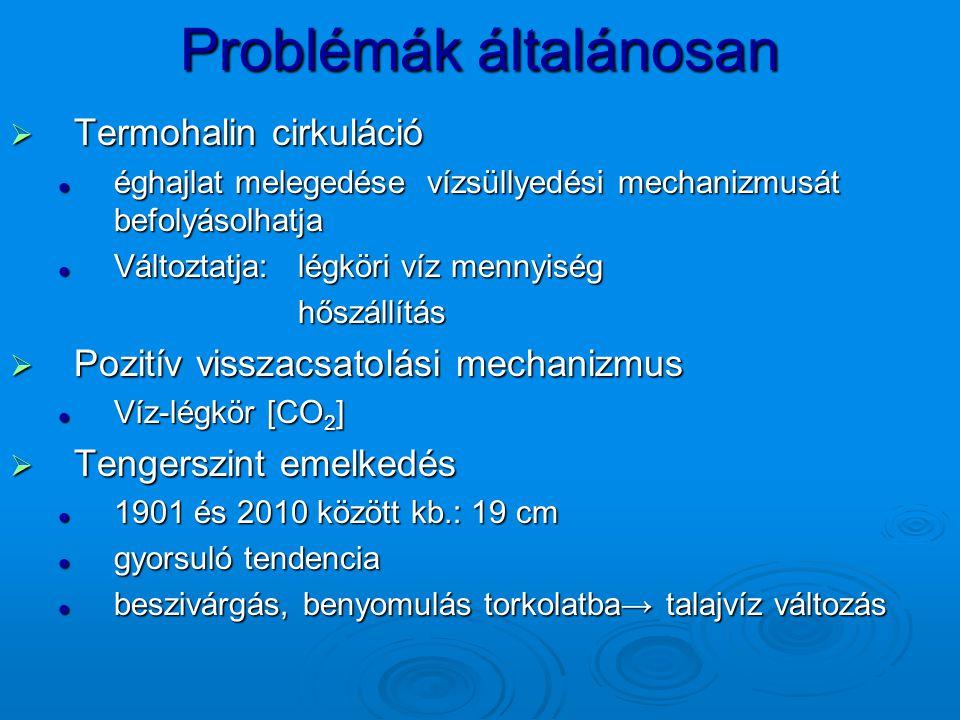 Problémák általánosan  Termohalin cirkuláció éghajlat melegedése vízsüllyedési mechanizmusát befolyásolhatja éghajlat melegedése vízsüllyedési mechan