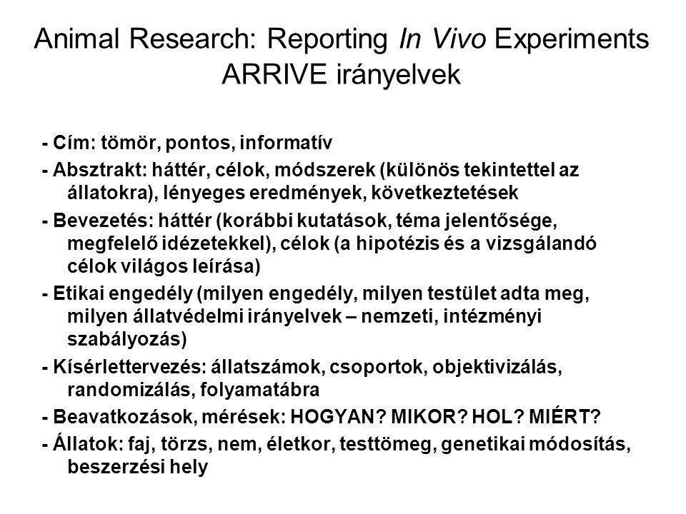 Animal Research: Reporting In Vivo Experiments ARRIVE irányelvek - Cím: tömör, pontos, informatív - Absztrakt: háttér, célok, módszerek (különös tekin