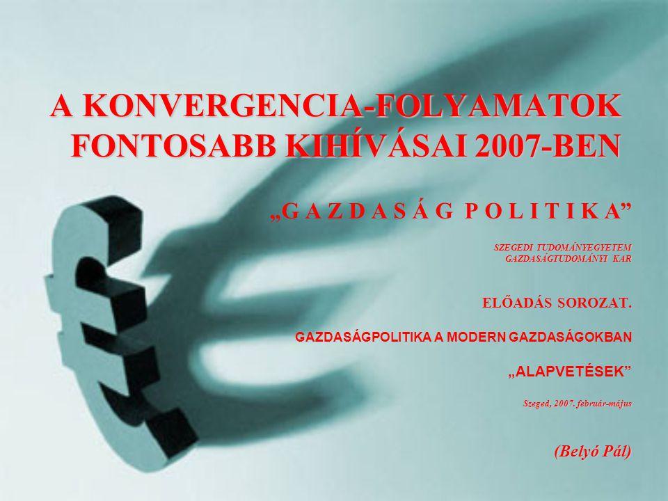 A KONVERGENCIA-FOLYAMATOK FONTOSABB KIHÍVÁSAI 2007-BEN SZEGEDI TUDOMÁNYEGYETEM GAZDASÁGTUDOMÁNYI KAR Szeged, 2007.