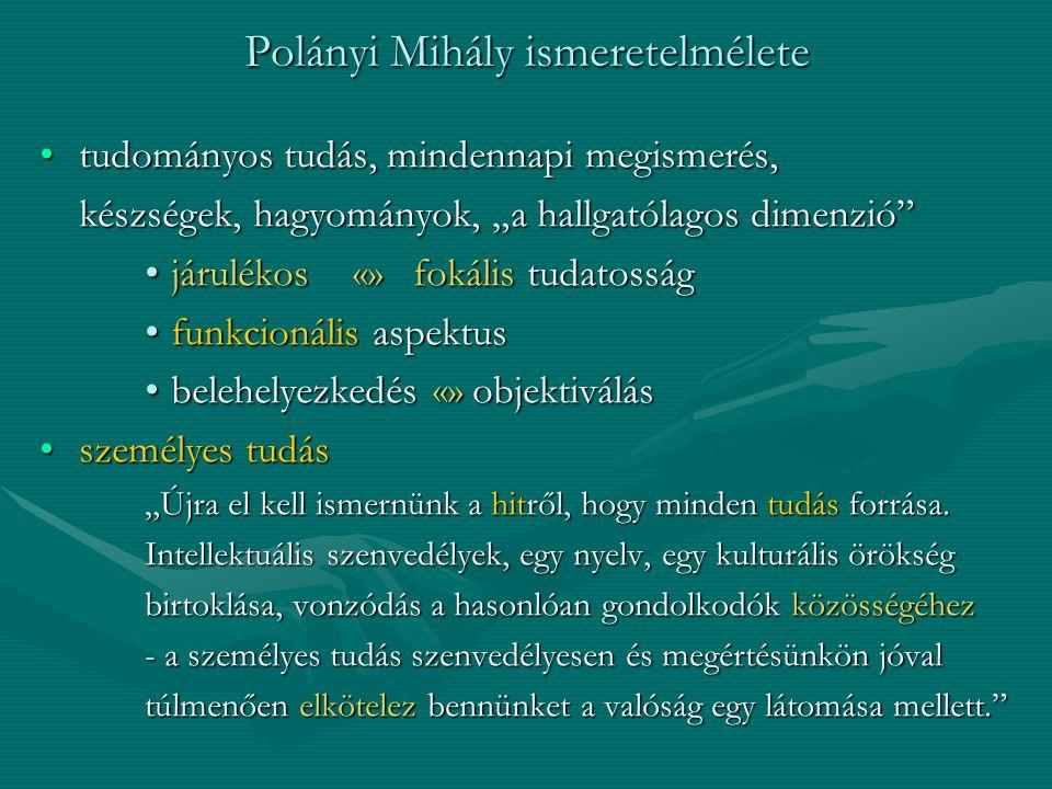 """Polányi Mihály ismeretelmélete tudományos tudás, mindennapi megismerés,tudományos tudás, mindennapi megismerés, készségek, hagyományok, """"a hallgatólag"""