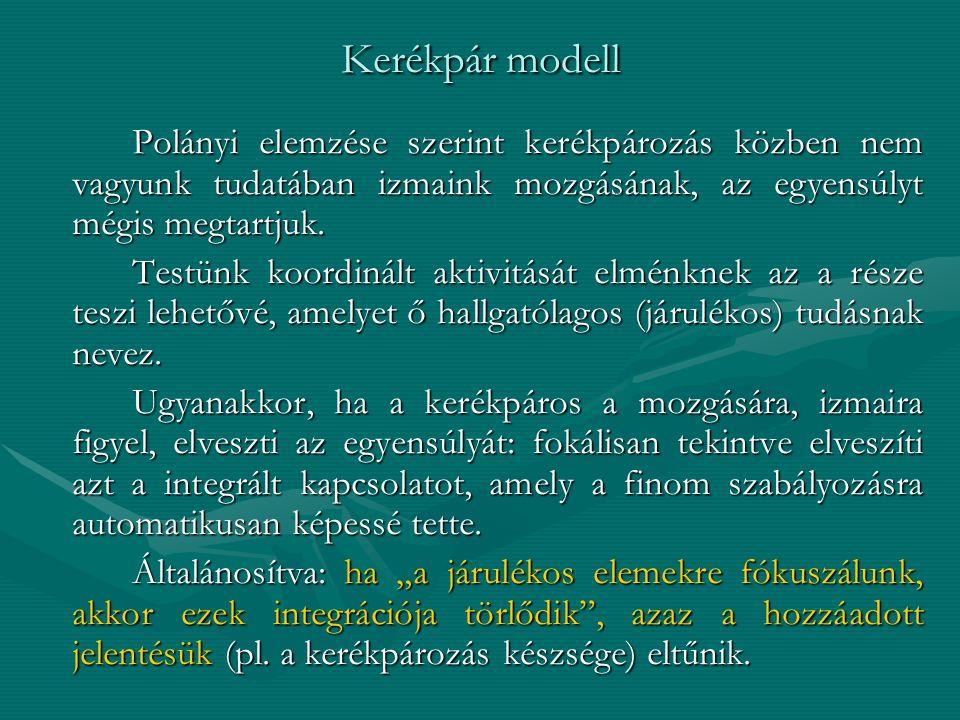 Kerékpár modell Polányi elemzése szerint kerékpározás közben nem vagyunk tudatában izmaink mozgásának, az egyensúlyt mégis megtartjuk. Testünk koordin