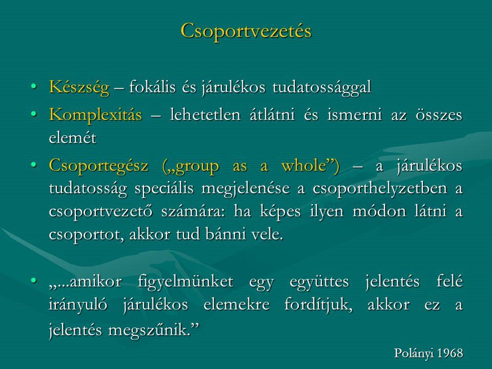 Csoportvezetés Készség – fokális és járulékos tudatossággalKészség – fokális és járulékos tudatossággal Komplexitás – lehetetlen átlátni és ismerni az