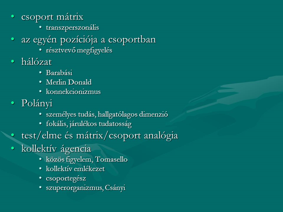 A mátrix szó jelentései Uterus (ovárium)Uterus (ovárium) Hely, közeg, melyben valami szaporodik, kialakul, fejlődikHely, közeg, melyben valami szaporodik, kialakul, fejlődik növekedési pontnövekedési pont állati szerv kifejlődését irányító rész, pl.körömágyállati szerv kifejlődését irányító rész, pl.körömágy test, amelyen gomba vagy zuzmó növeksziktest, amelyen gomba vagy zuzmó növekszik fa, növény belső velős állományafa, növény belső velős állománya Magába záró vagy magába ágyazó anyag, pl.