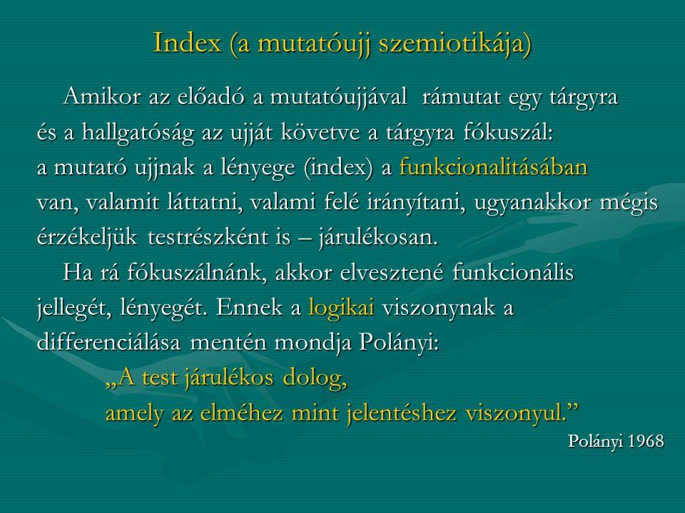 Index (a mutatóujj szemiotikája) Amikor az előadó a mutatóujjával rámutat egy tárgyra és a hallgatóság az ujját követve a tárgyra fókuszál: a mutató u