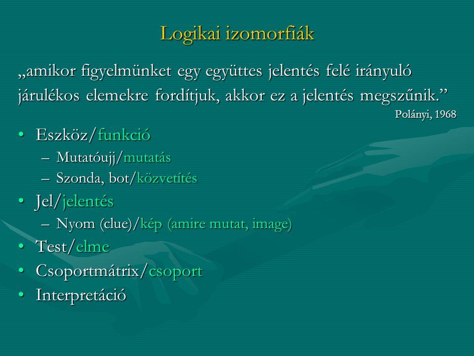 """Logikai izomorfiák """"amikor figyelmünket egy együttes jelentés felé irányuló járulékos elemekre fordítjuk, akkor ez a jelentés megszűnik."""" Polányi, 196"""