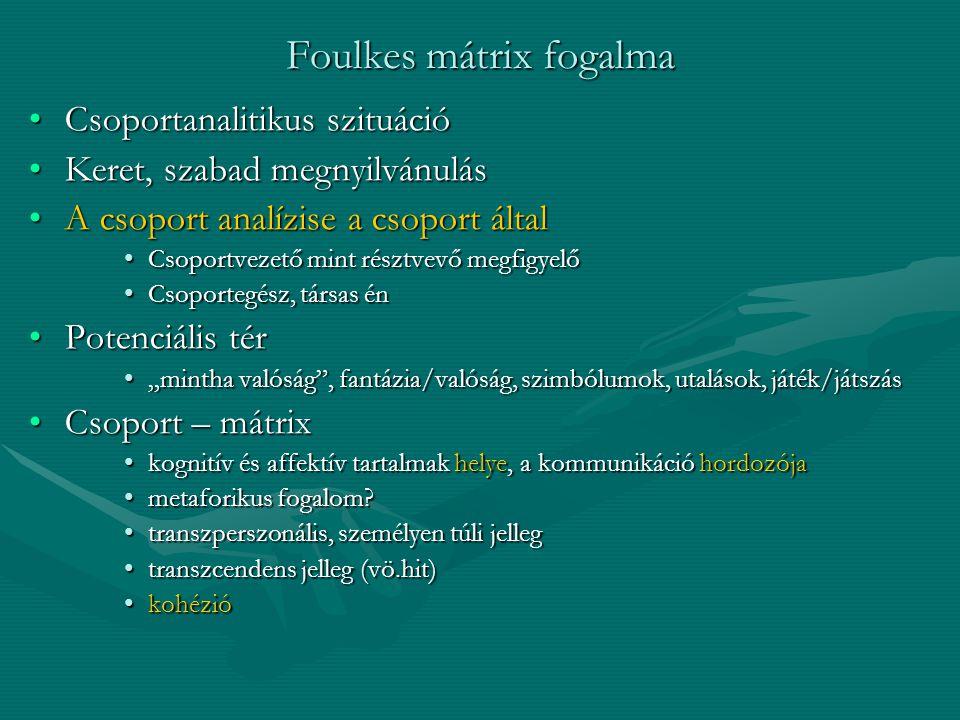 Foulkes mátrix fogalma Csoportanalitikus szituációCsoportanalitikus szituáció Keret, szabad megnyilvánulásKeret, szabad megnyilvánulás A csoport analí