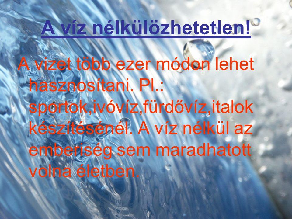 A víz nélkülözhetetlen! A vizet több ezer módon lehet hasznosítani. Pl.: sportok,ivóvíz,fürdővíz,italok készítésénél. A víz nélkül az emberiség sem ma