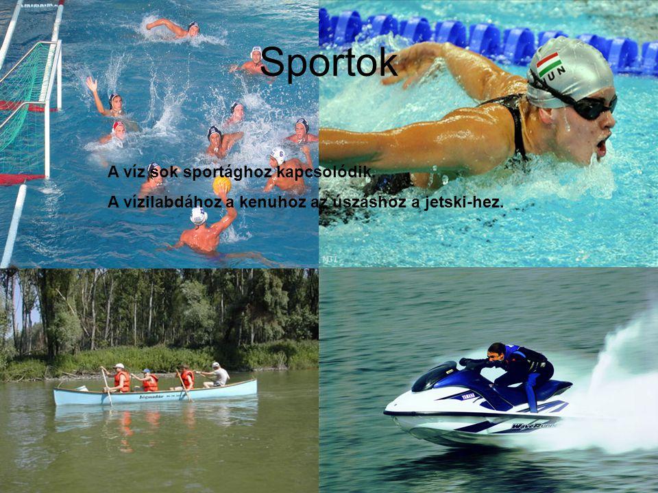 Sportok A víz sok sportághoz kapcsolódik. A vízilabdához a kenuhoz az úszáshoz a jetski-hez.