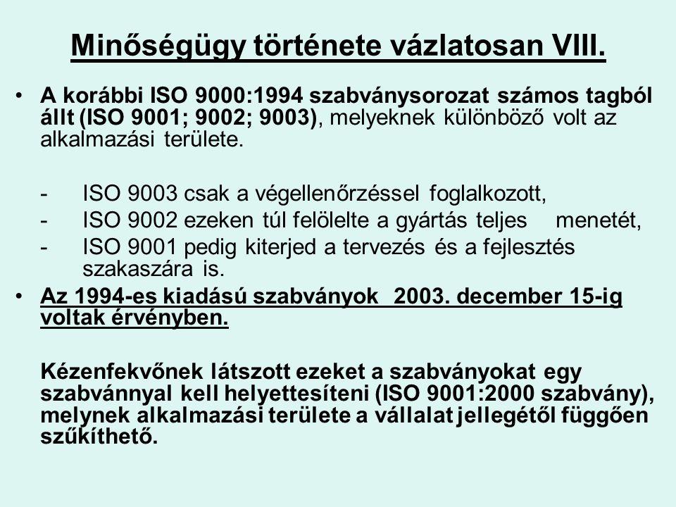Minőségügy története vázlatosan VIII. A korábbi ISO 9000:1994 szabványsorozat számos tagból állt (ISO 9001; 9002; 9003), melyeknek különböző volt az a