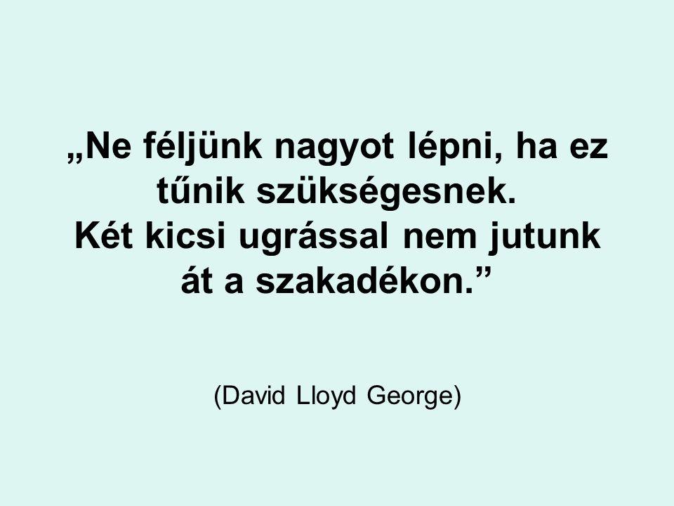"""""""Ne féljünk nagyot lépni, ha ez tűnik szükségesnek. Két kicsi ugrással nem jutunk át a szakadékon."""" (David Lloyd George)"""