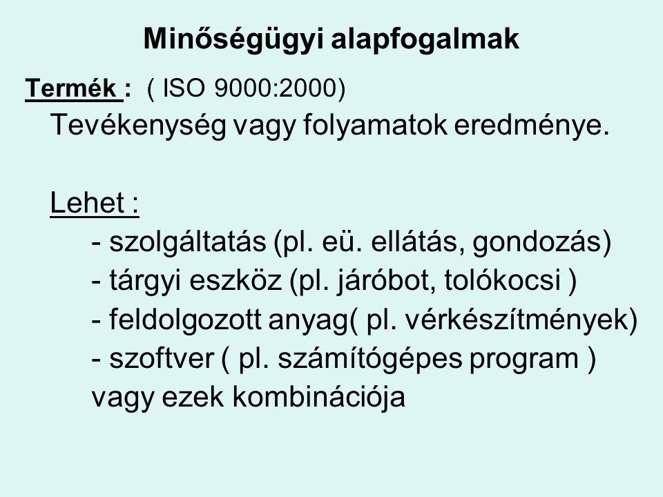 Termék : ( ISO 9000:2000) Tevékenység vagy folyamatok eredménye. Lehet : - szolgáltatás (pl. eü. ellátás, gondozás) - tárgyi eszköz (pl. járóbot, toló