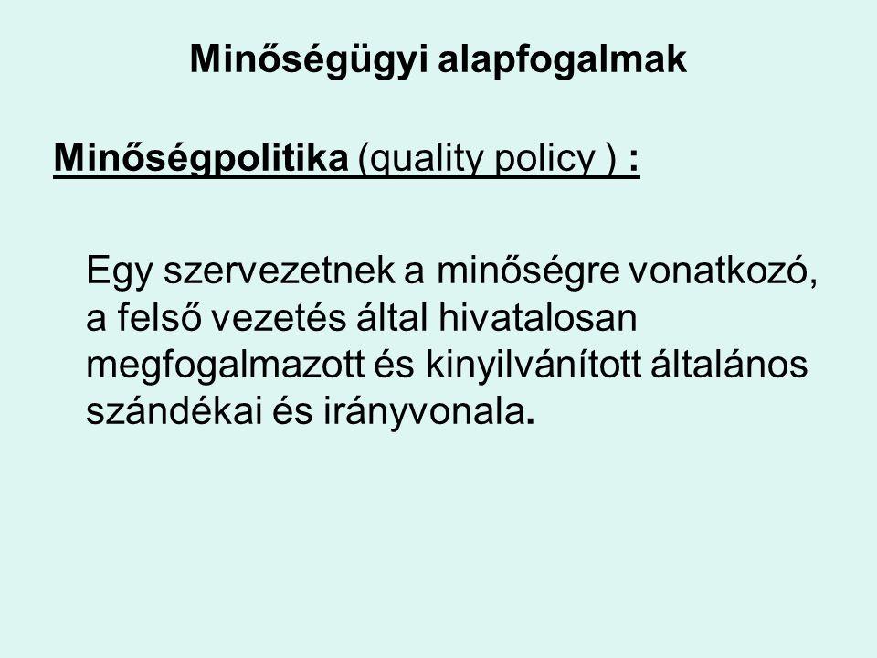 Minőségügyi alapfogalmak Minőségpolitika (quality policy ) : Egy szervezetnek a minőségre vonatkozó, a felső vezetés által hivatalosan megfogalmazott és kinyilvánított általános szándékai és irányvonala.