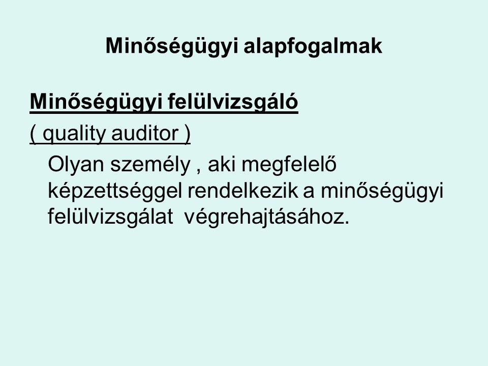 Minőségügyi alapfogalmak Minőségügyi felülvizsgáló ( quality auditor ) Olyan személy, aki megfelelő képzettséggel rendelkezik a minőségügyi felülvizsgálat végrehajtásához.