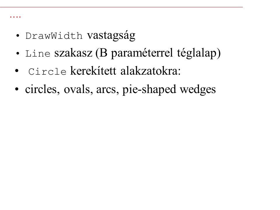 7 …. DrawWidth vastagság Line szakasz (B paraméterrel téglalap) Circle kerekített alakzatokra: circles, ovals, arcs, pie-shaped wedges