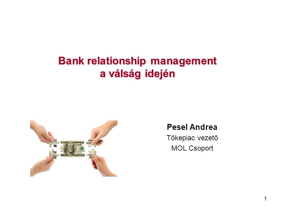 1 Bank relationship management a válság idején Pesel Andrea Tőkepiac vezető MOL Csoport