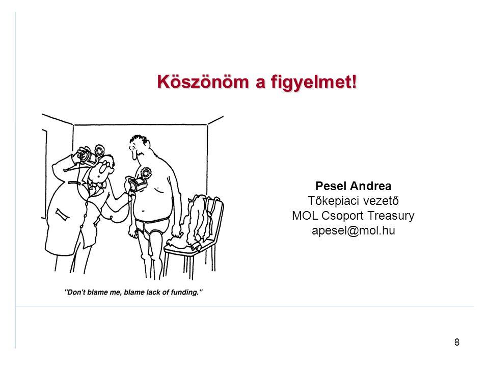 8 Pesel Andrea Tőkepiaci vezető MOL Csoport Treasury apesel@mol.hu Köszönöm a figyelmet!