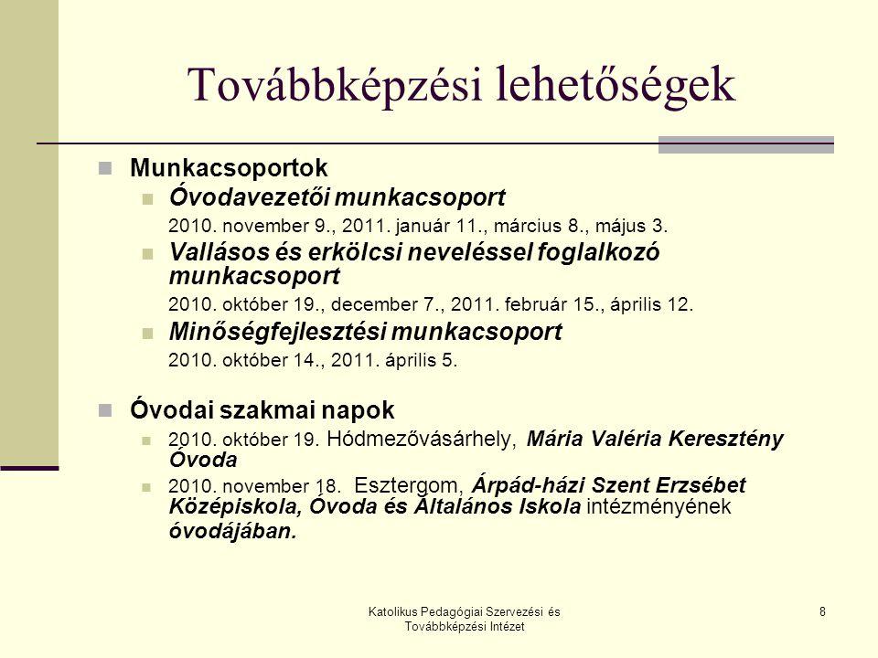 Katolikus Pedagógiai Szervezési és Továbbképzési Intézet 9 Továbbképzési lehetőségek (folytatás) Óvodai szakmai napok 2011.