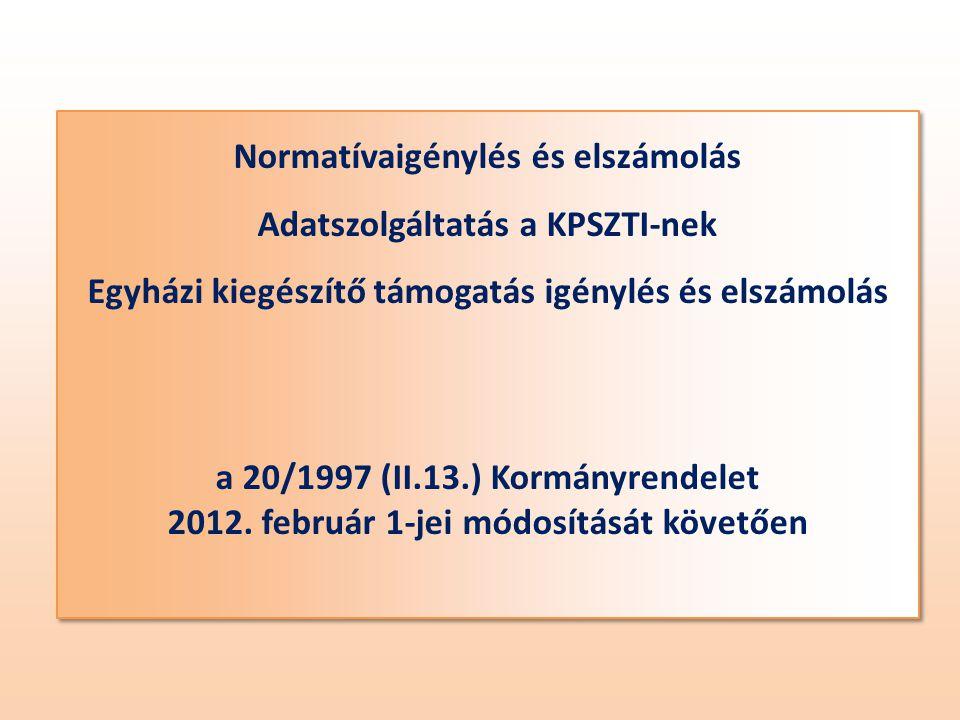 Normatívaigénylés és elszámolás Adatszolgáltatás a KPSZTI-nek Egyházi kiegészítő támogatás igénylés és elszámolás a 20/1997 (II.13.) Kormányrendelet 2012.