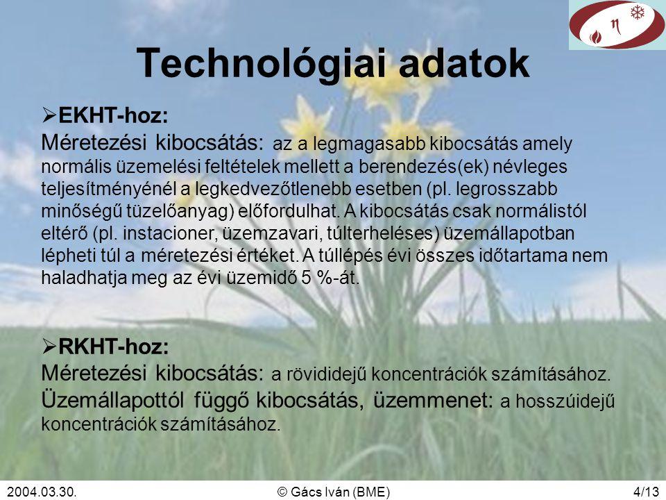 2004.03.30.© Gács Iván (BME)4/13 Technológiai adatok  EKHT-hoz: Méretezési kibocsátás: az a legmagasabb kibocsátás amely normális üzemelési feltételek mellett a berendezés(ek) névleges teljesítményénél a legkedvezőtlenebb esetben (pl.
