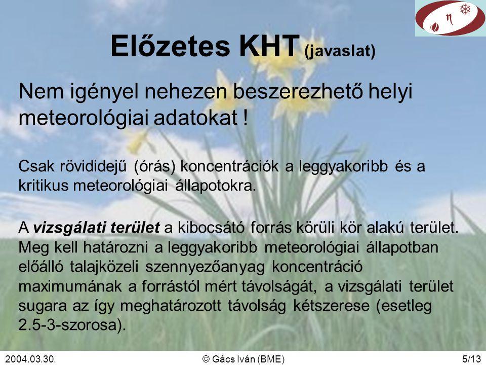 2004.03.30.© Gács Iván (BME)5/13 Előzetes KHT (javaslat) Nem igényel nehezen beszerezhető helyi meteorológiai adatokat ! Csak rövididejű (órás) koncen
