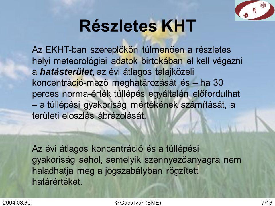2004.03.30.© Gács Iván (BME)7/13 Részletes KHT Az EKHT-ban szereplőkön túlmenően a részletes helyi meteorológiai adatok birtokában el kell végezni a h