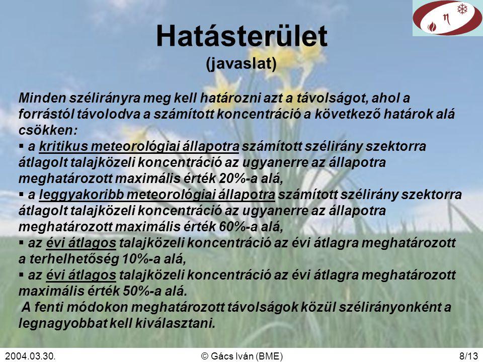 2004.03.30.© Gács Iván (BME)8/13 Hatásterület (javaslat) Minden szélirányra meg kell határozni azt a távolságot, ahol a forrástól távolodva a számított koncentráció a következő határok alá csökken:  a kritikus meteorológiai állapotra számított szélirány szektorra átlagolt talajközeli koncentráció az ugyanerre az állapotra meghatározott maximális érték 20%-a alá,  a leggyakoribb meteorológiai állapotra számított szélirány szektorra átlagolt talajközeli koncentráció az ugyanerre az állapotra meghatározott maximális érték 60%-a alá,  az évi átlagos talajközeli koncentráció az évi átlagra meghatározott a terhelhetőség 10%-a alá,  az évi átlagos talajközeli koncentráció az évi átlagra meghatározott maximális érték 50%-a alá.