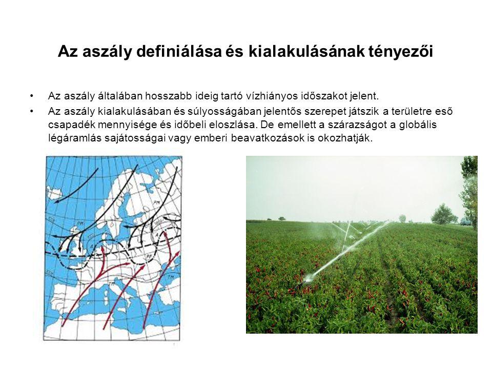 Az aszály mérése és mutatói PSDI a havi csapadékösszegekkel, a havi átlaghőmérséklet idősorokkal és a talaj szempontjából hasznosítható vízkapacitással szimuláljuk a talaj nedvességtartalmát SPI az aktuálisan lehullott csapadék és az átlagos mennyiség viszonyát írja le.