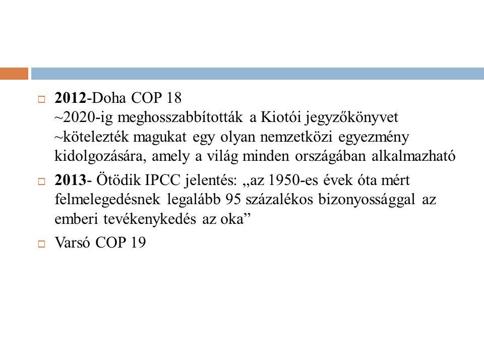  2012-Doha COP 18 ~2020-ig meghosszabbították a Kiotói jegyzőkönyvet ~kötelezték magukat egy olyan nemzetközi egyezmény kidolgozására, amely a világ