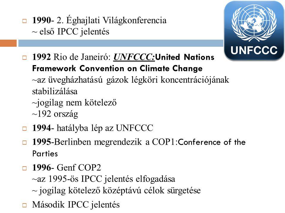  1990- 2. Éghajlati Világkonferencia ~ első IPCC jelentés  1992 Rio de Janeiró: UNFCCC: United Nations Framework Convention on Climate Change ~az üv