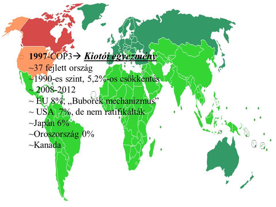 """ 1997-COP3  Kiotói egyezmény ~37 fejlett ország ~1990-es szint, 5,2%-os csökkentés ~ 2008-2012 ~ EU 8%, """"Buborék mechanizmus"""" ~ USA 7%, de nem ratif"""