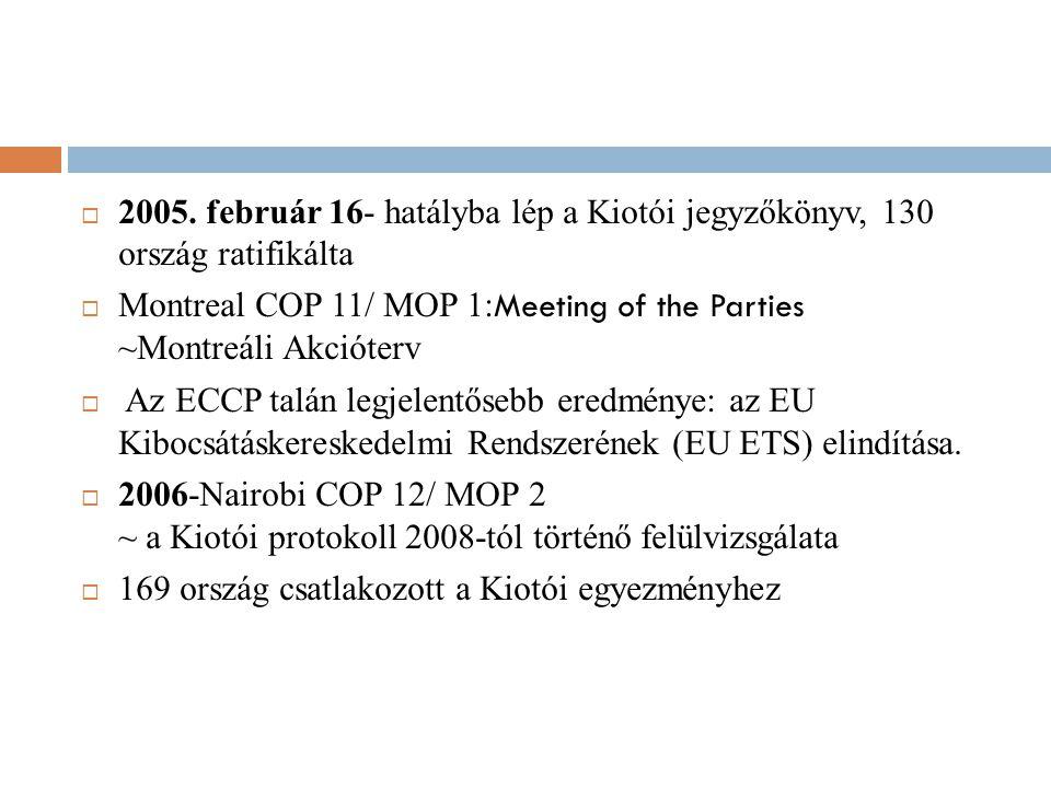  2005. február 16- hatályba lép a Kiotói jegyzőkönyv, 130 ország ratifikálta  Montreal COP 11/ MOP 1: Meeting of the Parties ~Montreáli Akcióterv 