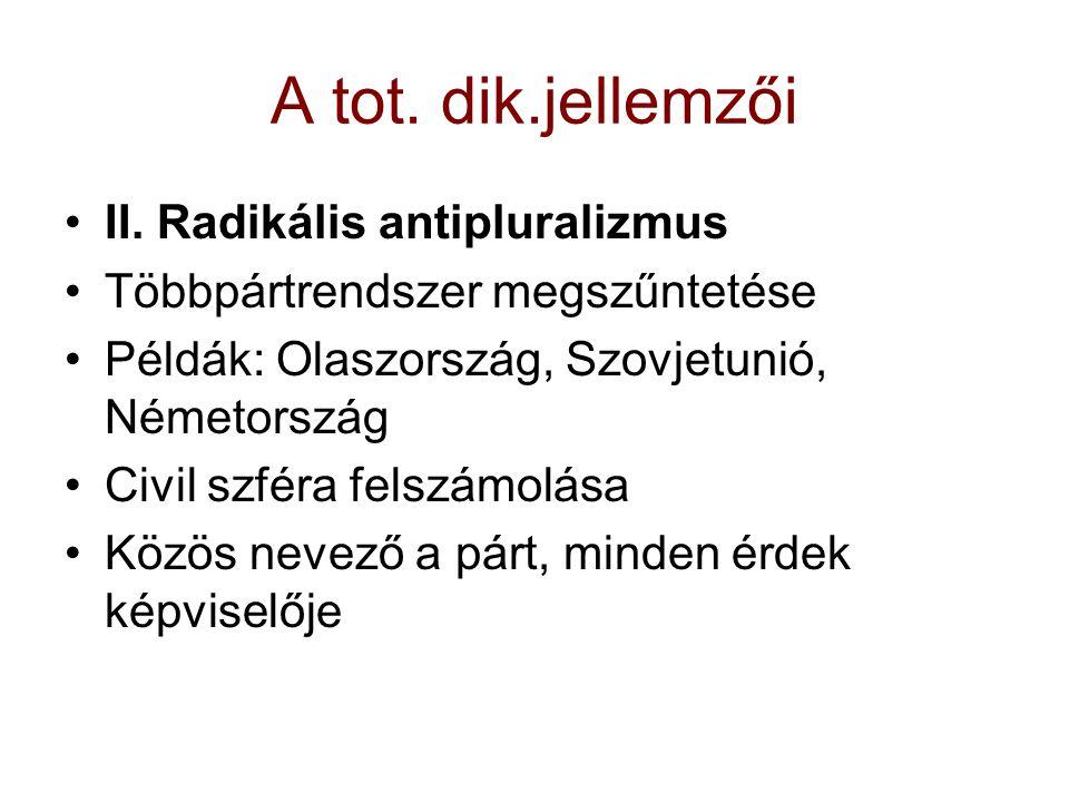 A tot. dik.jellemzői II. Radikális antipluralizmus Többpártrendszer megszűntetése Példák: Olaszország, Szovjetunió, Németország Civil szféra felszámol