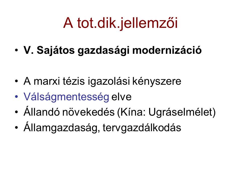 A tot.dik.jellemzői V. Sajátos gazdasági modernizáció A marxi tézis igazolási kényszere Válságmentesség elve Állandó növekedés (Kína: Ugráselmélet) Ál