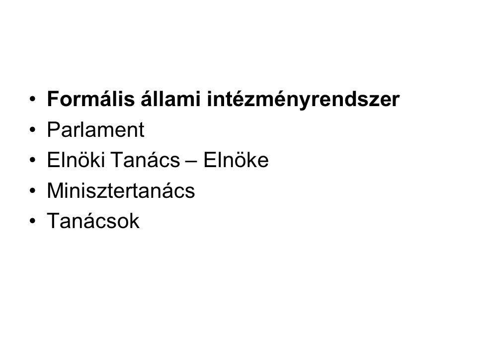 Formális állami intézményrendszer Parlament Elnöki Tanács – Elnöke Minisztertanács Tanácsok