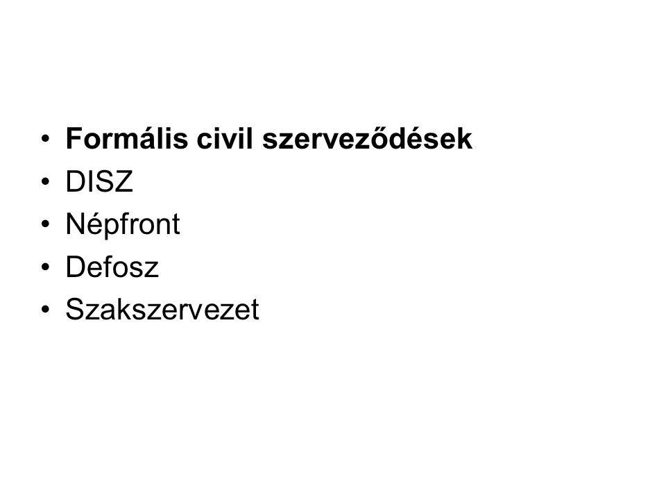 Formális civil szerveződések DISZ Népfront Defosz Szakszervezet