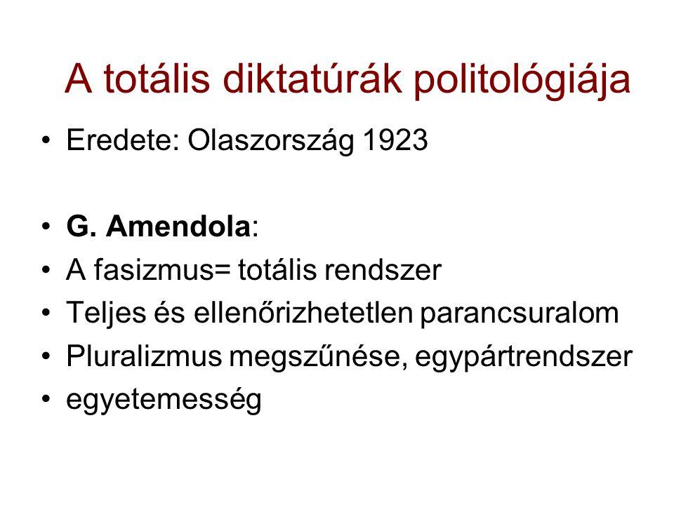 A totális diktatúrák politológiája Eredete: Olaszország 1923 G. Amendola: A fasizmus= totális rendszer Teljes és ellenőrizhetetlen parancsuralom Plura