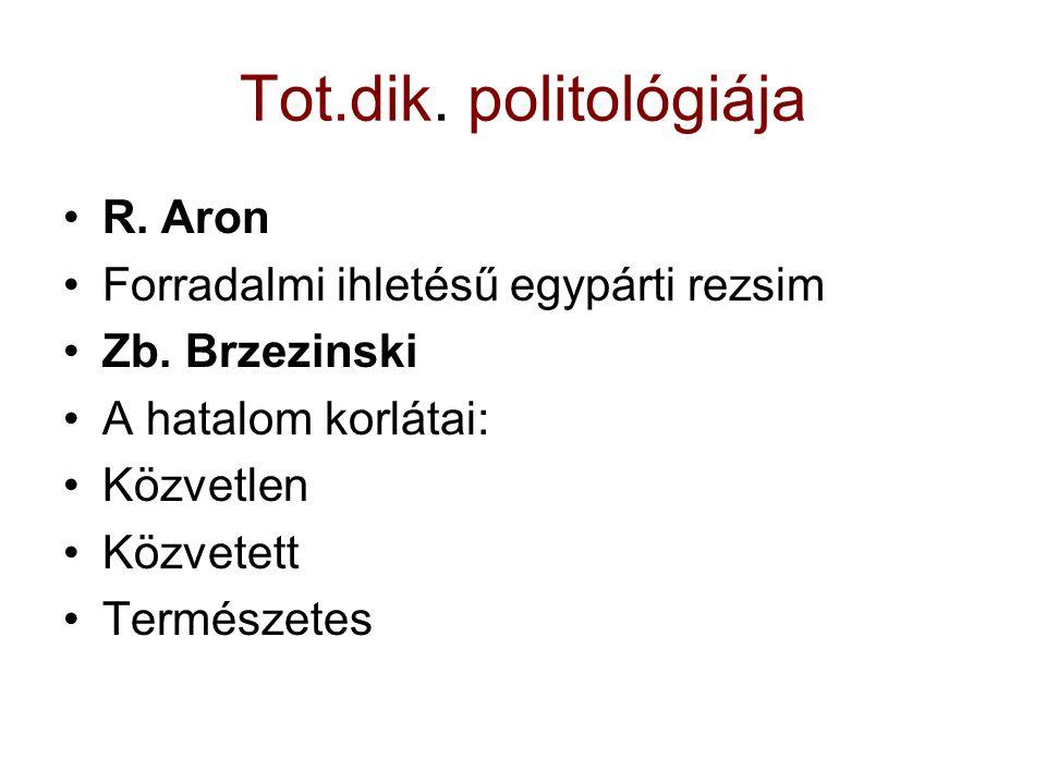 Tot.dik. politológiája R. Aron Forradalmi ihletésű egypárti rezsim Zb. Brzezinski A hatalom korlátai: Közvetlen Közvetett Természetes