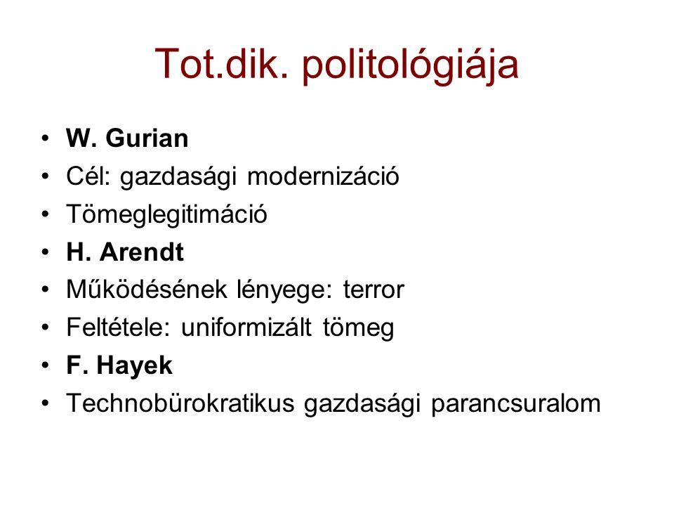 Tot.dik. politológiája W. Gurian Cél: gazdasági modernizáció Tömeglegitimáció H. Arendt Működésének lényege: terror Feltétele: uniformizált tömeg F. H