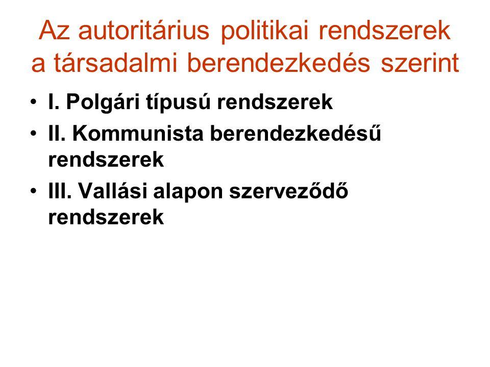 Az autoritárius politikai rendszerek a társadalmi berendezkedés szerint I. Polgári típusú rendszerek II. Kommunista berendezkedésű rendszerek III. Val