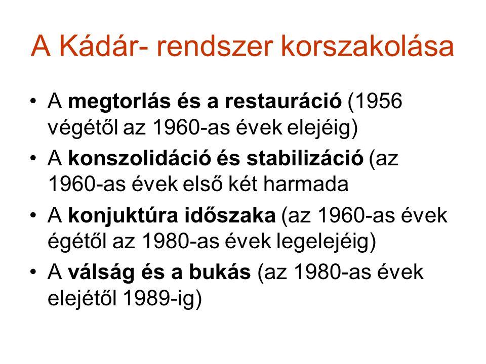 A Kádár- rendszer korszakolása A megtorlás és a restauráció (1956 végétől az 1960-as évek elejéig) A konszolidáció és stabilizáció (az 1960-as évek el