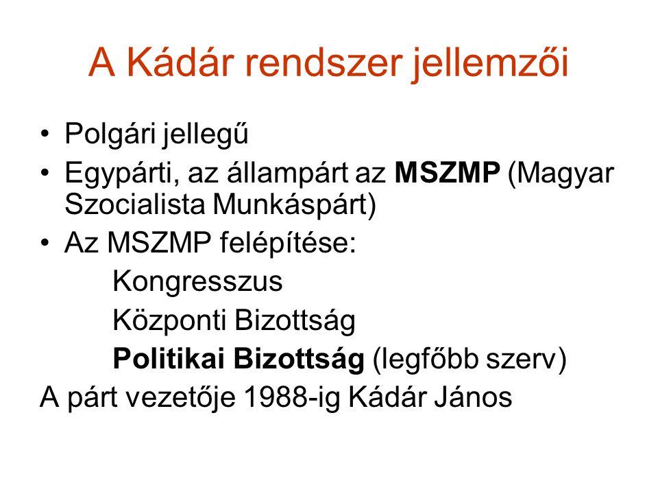 A Kádár rendszer jellemzői Polgári jellegű Egypárti, az állampárt az MSZMP (Magyar Szocialista Munkáspárt) Az MSZMP felépítése: Kongresszus Központi B