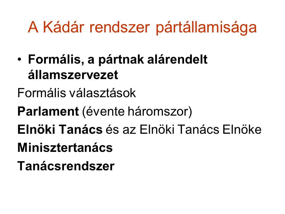A Kádár rendszer pártállamisága Formális, a pártnak alárendelt államszervezet Formális választások Parlament (évente háromszor) Elnöki Tanács és az El