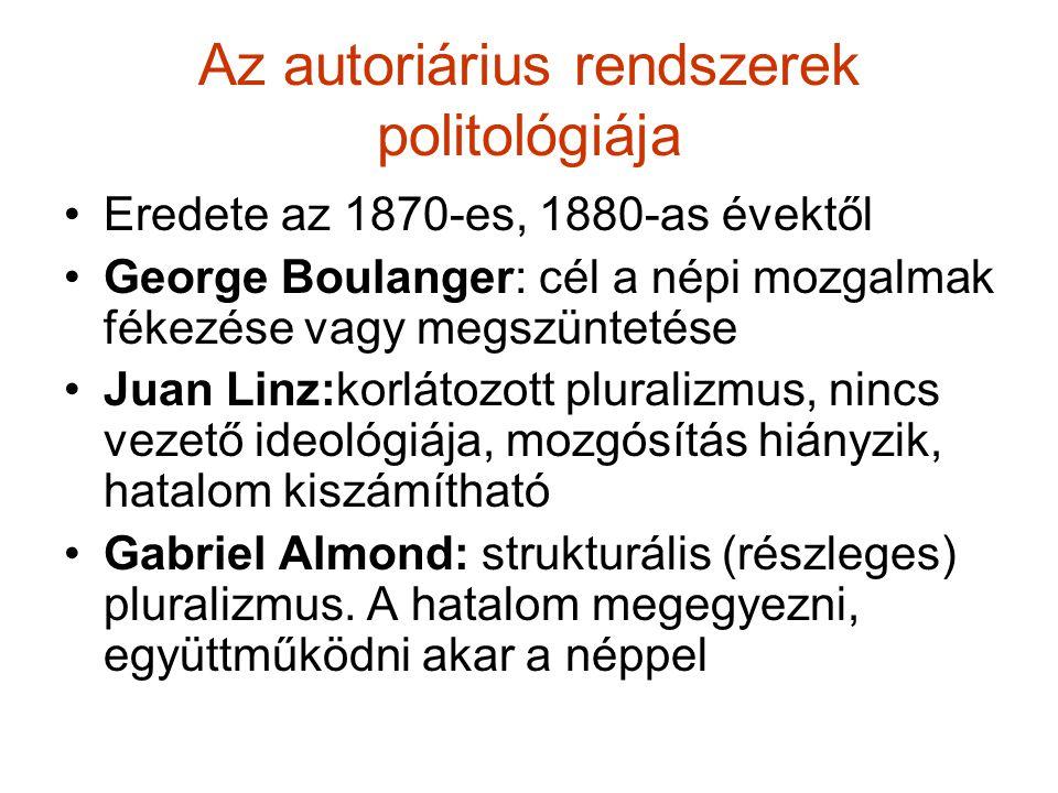 Az autoriárius rendszerek politológiája Eredete az 1870-es, 1880-as évektől George Boulanger: cél a népi mozgalmak fékezése vagy megszüntetése Juan Li